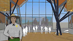 The lobby will offer a grand view of Old Faithful geyser