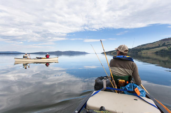 Visitors fishing on Yellowstone Lake