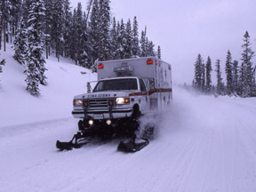 Oversnow ambulance in Yellowstone